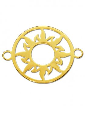 Sonne Element small (15 mm) mit zwei Ösen, 925 Silber vergoldet (3 St.)