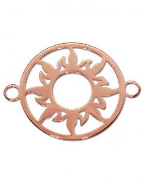 Sonne Element small (15 mm) mit zwei Ösen, 925 Silber rosévergoldet (3 St.)