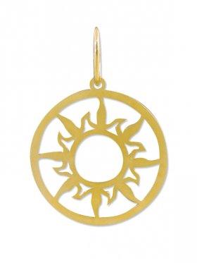Sonne, large ø 25 mm, Anhänger mit Öse, 925 Silber vergoldet