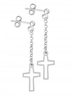 Kreuz, Ohrstecker, 925 Silber rhodiniert