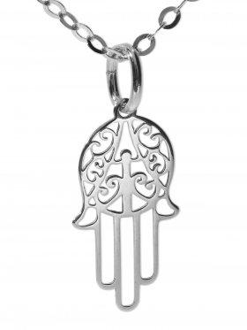 Hand der Fatima (small ø 15 mm) mit Ankerkette Länge 38 cm, 925 Silber rhodiniert
