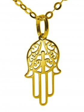 Hand der Fatima (small ø 15 mm) mit Ankerkette Länge 38 cm, 925 Silber vergoldet