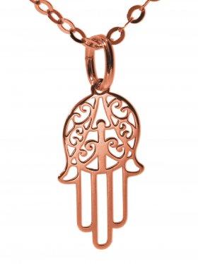 Hand der Fatima (small ø 15 mm) mit Ankerkette Länge 38 cm, 925 Silber rosévergoldet
