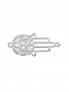 Fatimas Hand mini (10 mm) mit 2 Ösen, 925 Silber (3 St.)