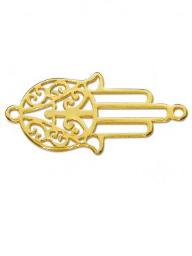 Fatimas Hand small (15 mm) mit zwei Ösen, 925 Silber vergoldet