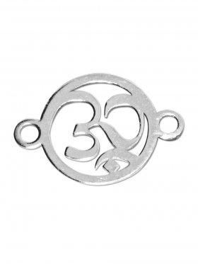 Om-Zeichen, Element mini (10 mm) mit 2 Ösen, 925 Silber