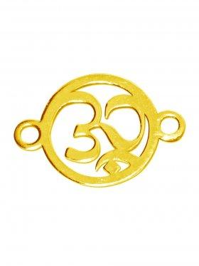 Om-Zeichen, Element mini (10 mm) mit 2 Ösen, 925 Silber vergoldet