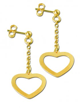 Herz, Ohrstecker, 925 Silber vergoldet