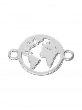 Weltkugel mini (10 mm) mit 2 Ösen, 925 Silber (3 St.)
