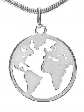 Weltkugel Anhänger small (15 mm), 925 Silber