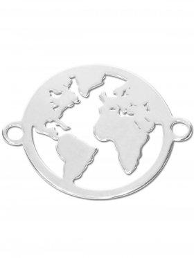 Weltkugel small (15 mm) mit 2 Ösen, 925 Silber (3 St.)