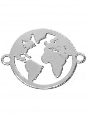 Weltkugel small (15 mm) mit 2 Ösen, 925 Silber (silber, rhodiniert, vergoldet, rosévergoldet)