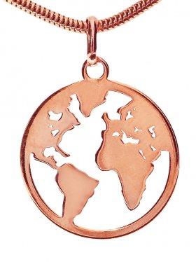 Welkugel Anhänger small (15 mm), 925 Silber rosévergoldet