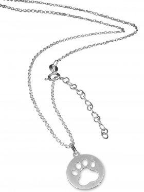 Pfote (small ø 15 mm) -  Ankerkette mit Verlängerungskette, Länge 38+5 cm, 925 Silber rhodiniert