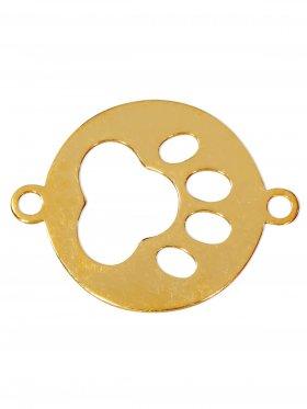 Pfote, Element small mit 2 Ösen, 925 Silber vergoldet