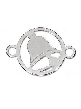 Glocke, Element mini (10 mm) mit 2 Ösen, 925 rhodiniert (3 St.)