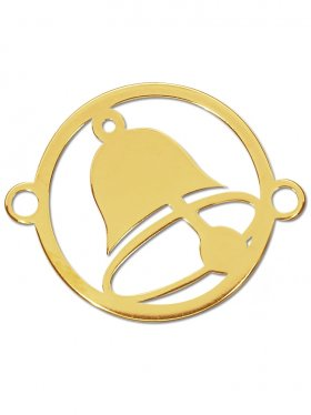 Glocke, Element small mit 2 Ösen, 925 vergoldet