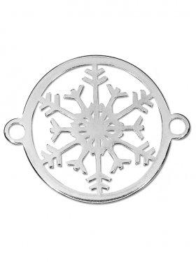 Schneeflocke small (15 mm) mit 2 Ösen, 925 Silber rhodiniert (3 St.)