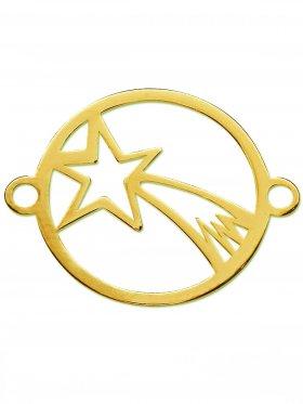 Bethlehem Stern small (15 mm) mit 2 Ösen, 925 Silber vergoldet (3 St.)