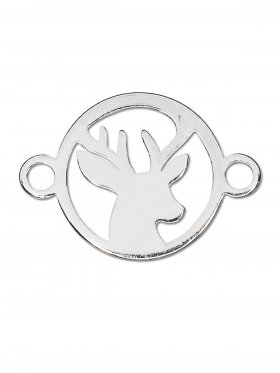 Hirsch mini (10 mm) mit 2 Ösen, 925 Silber