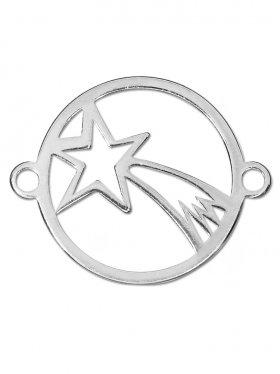 Bethlehem Stern small (15 mm) mit 2 Ösen, 925 Silber rhodiniert (3 St.)