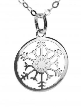Schneeflocke (small ø 15 mm) mit Ankerkette Länge 45 cm, 925 Silber rhodiniert