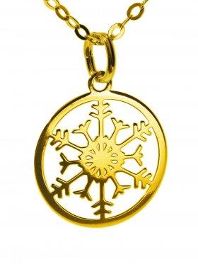 Schneeflocke (small ø 15 mm) mit Ankerkette Länge 38 cm, 925 Silber vergoldet
