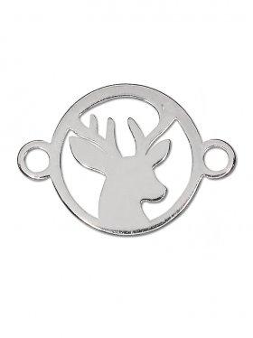 Hirsch mini (10 mm) mit 2 Ösen, 925 Silber rhodiniert