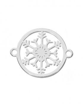 Schneeflocke mini (10 mm) mit 2 Ösen, 925 Silber rhodiniert
