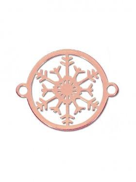 Schneeflocke mini (10 mm) mit 2 Ösen, 925 Silber rosévergoldet (3 St.)