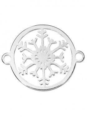 Schneeflocke small (15 mm) mit 2 Ösen, 925 Silber (3 St.)