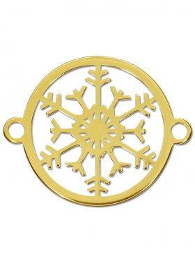 Schneeflocke small (15 mm) mit 2 Ösen, 925 Silber vergoldet (3 St.)