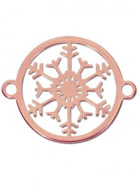 Schneeflocke small (15 mm) mit 2 Ösen, 925 Silber rosévergoldet (3 St.)