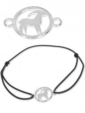 Symbolarmband Steinbock mini (10 mm) auf Elastikband, schwarz, 925 Silber