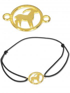 Symbolarmband Steinbock mini (10 mm) auf Elastikband, schwarz, 925 Silber vergoldet