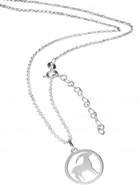 Steinbock (small ø 15 mm) -  Ankerkette mit Verlängerungskette, Länge 38+5 cm, 925 Silber