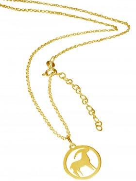 Steinbock (small ø 15 mm) -  Ankerkette mit Verlängerungskette, Länge 38+5 cm, 925 Silber vergoldet