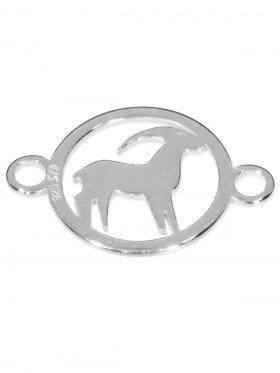 Steinbock, Element mini (10 mm) mit 2 Ösen, 925 Silber rhodiniert