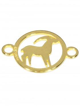 Steinbock, Element mini (10 mm) mit 2 Ösen, 925 Silber vergoldet