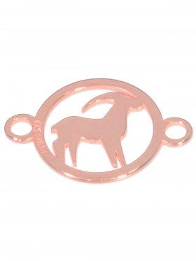 Steinbock, Element mini (10 mm) mit 2 Ösen, 925 Silber rosévergoldet