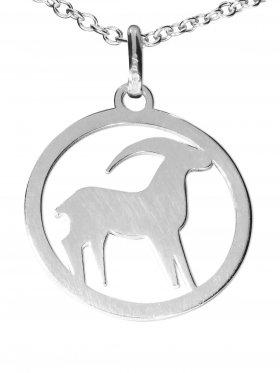 Steinbock, Sternzeichen Anhänger small mit Öse, 925 Silber