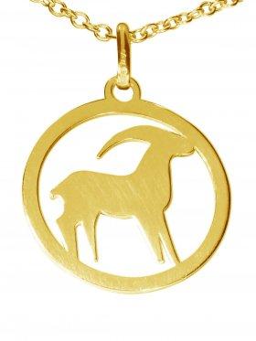 Steinbock, Sternzeichen Anhänger small mit Öse, 925 Silber vergoldet