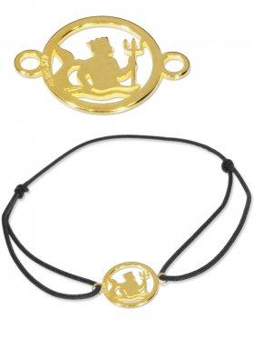 Symbolarmband Wassermann mini (10 mm) auf Elastikband, schwarz, 925 Silber vergoldet