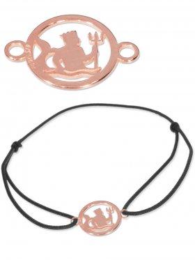 Symbolarmband Wassermann mini (10 mm) auf Elastikband, schwarz, 925 Silber rosévergoldet