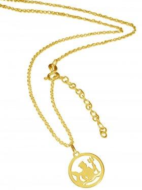 Wassermann (small ø 15 mm) -  Ankerkette mit Verlängerungskette, Länge 38+5 cm, 925 Silber vergoldet
