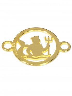 Wassermann, Element mini (10 mm) mit 2 Ösen, 925 Silber vergoldet
