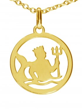 Wassermann, Sternzeichen Anhänger small mit Öse, 925 Silber vergoldet