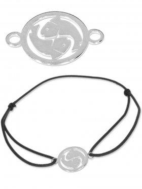 Symbolarmband Fische mini (10 mm) auf Elastikband, schwarz, 925 Silber
