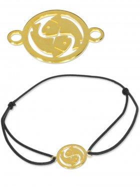 Symbolarmband Fische mini (10 mm) auf Elastikband, schwarz, 925 Silber vergoldet