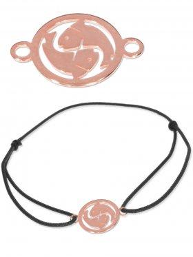 Symbolarmband Fische mini (10 mm) auf Elastikband, schwarz, 925 Silber rosévergoldet